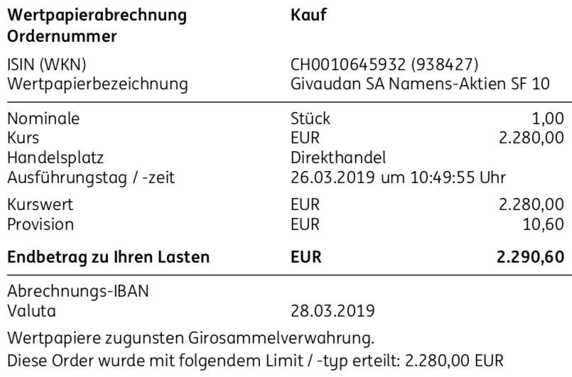 Originalabrechnung Givaudan-Kauf im März 2019