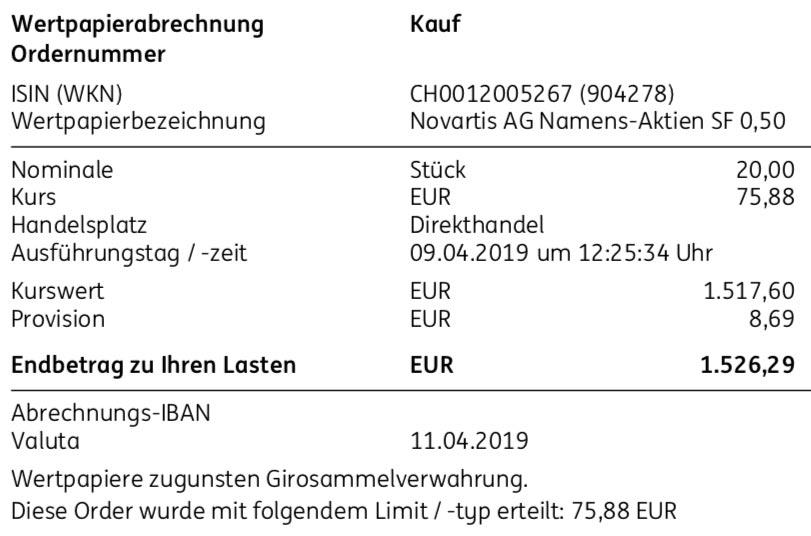 Kaufabrechnung Novartis am 09.04.2019