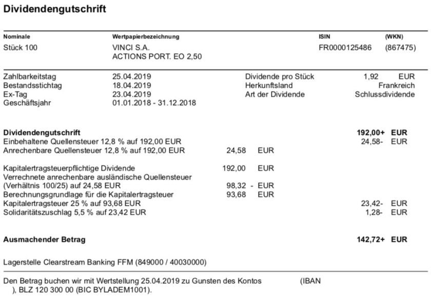 Dividendenabrechnung VINCI im April 2019