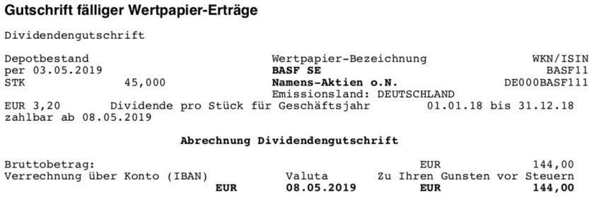 Dividendenabrechnung BASF im Mai 2019 II
