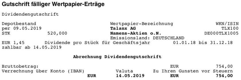 Dividendenabrechnung Talanx im Mai 2019