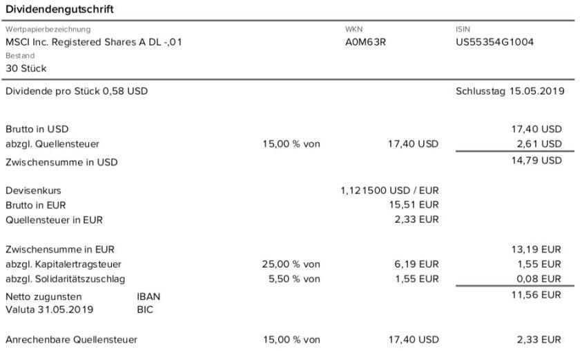 Dividendenabrechnung MSCI Inc. im Mai 2019