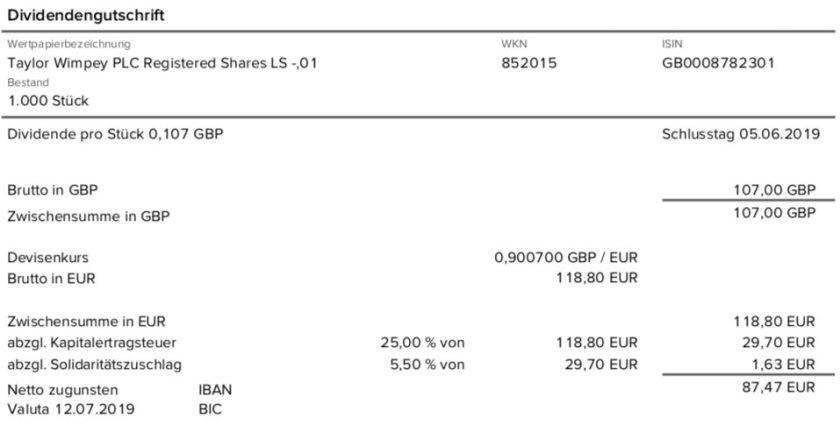 Originalabrechnung Taylor Wimpey Dividende durch die Consorsbank