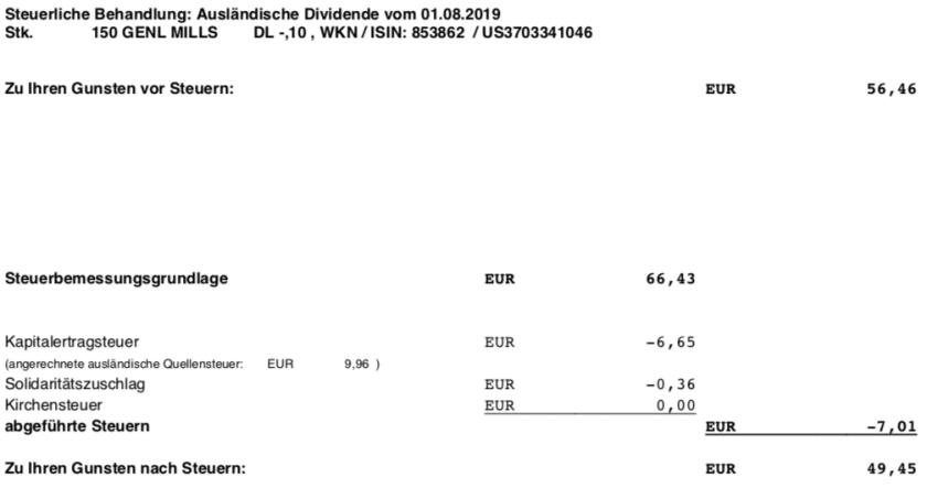 Steuerabrechnung Dividendenzahlung General Mills im August 2019