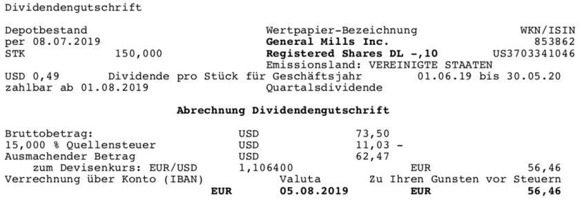 Originaldividendenabrechnung General Mills im August 2019
