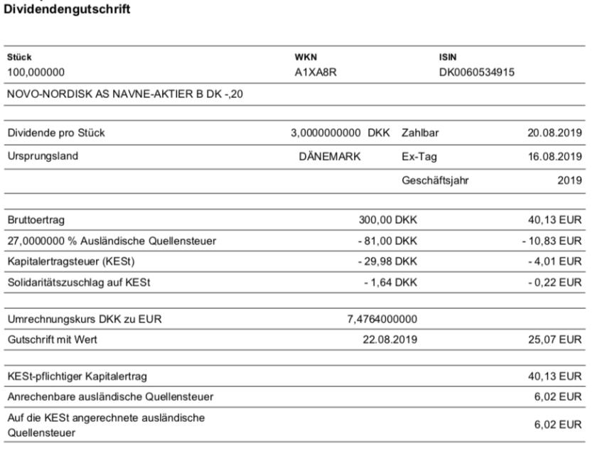 Originalabrechnung Dividendenzahlung Novo-Nordisk im August 2019