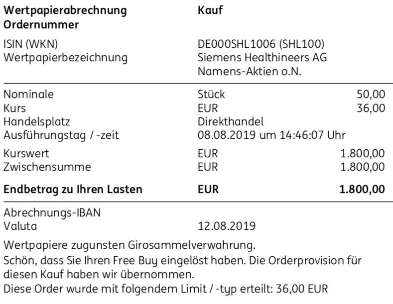 Abrechnung Kauf Siemens Healthineers Aktien