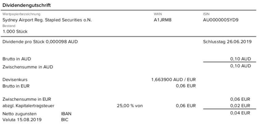 Originalabrechnung Dividendenzahlung Sydney Airport Teil 3 im August 2019