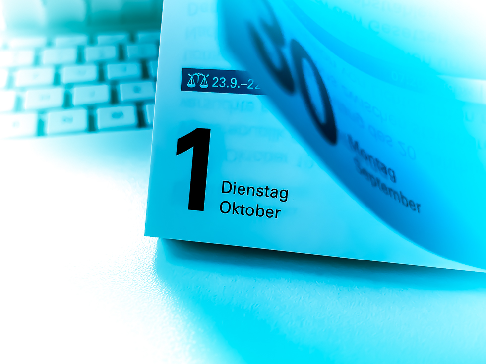 Kalenderblatt Monatswechsel Oktober 2019
