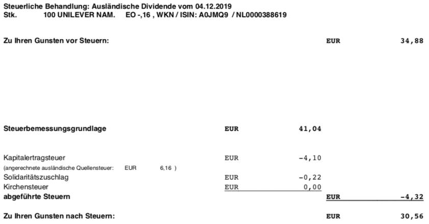 Originaldividendenabrechnung Unilever Steuer im Dezember 2019