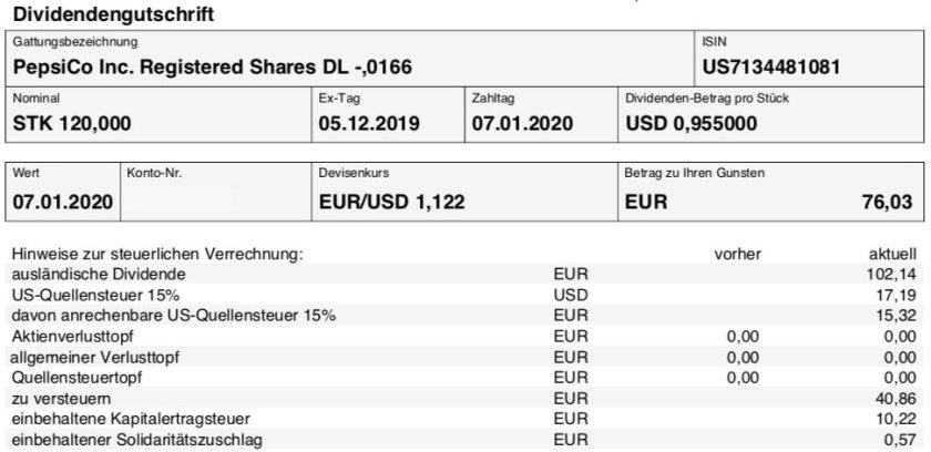 Originalabrechnung Dividende PepsiCo im Januar 2020