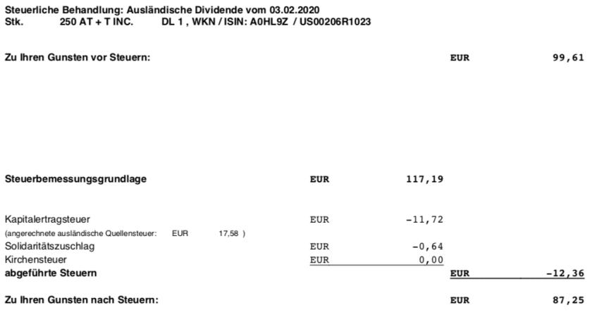 Original-Dividendenabrechnung AT&T Steuern im Februar 2020