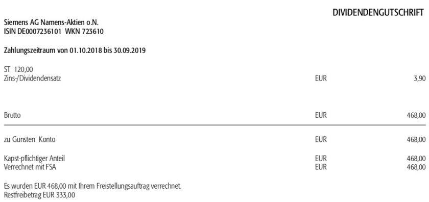 Originaldividendenabrechnung Siemens Februar 2020