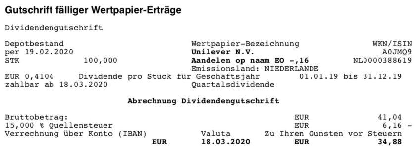 Dividendenabrechnung Unilever im März 2020