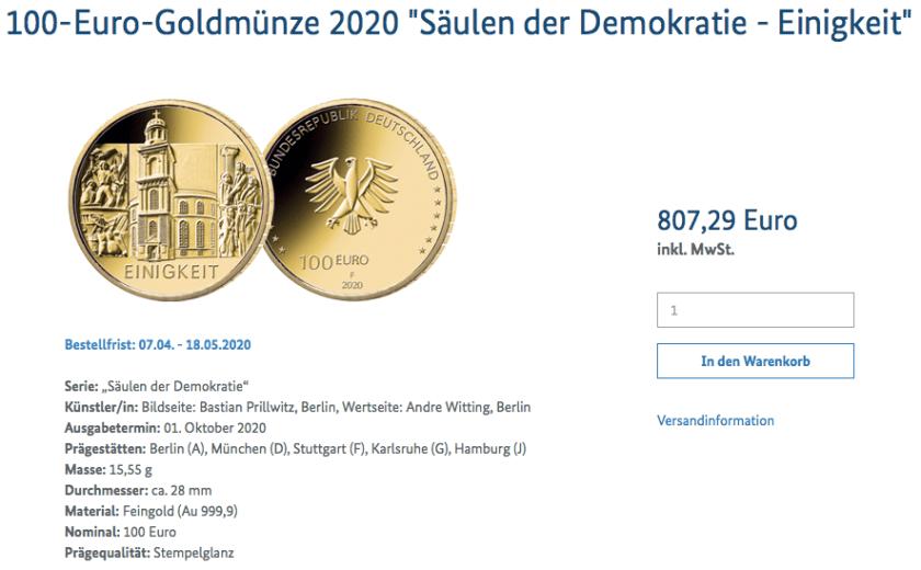 100-Euro-Goldmünze Einigkeit Bestellmöglichkeit