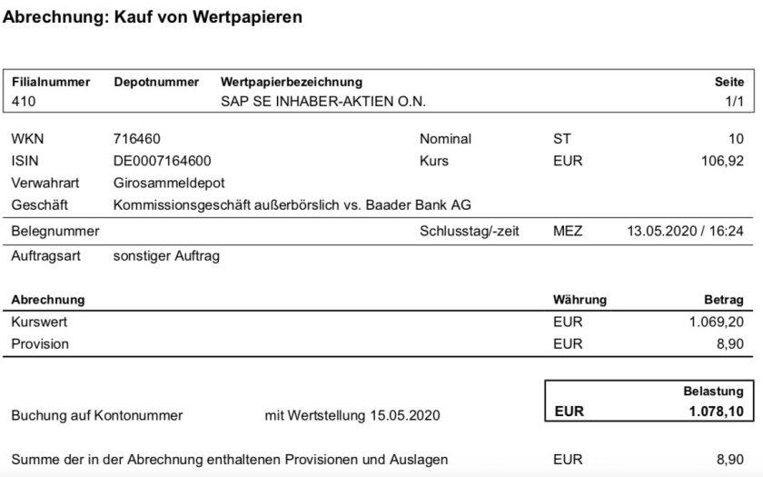 Kaufabrechnung SAP Aktien im Mai 2020