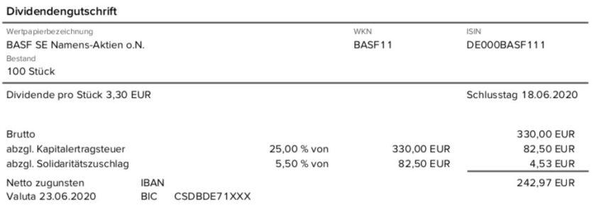 Dividendengutschrift BASF im Juni 2020