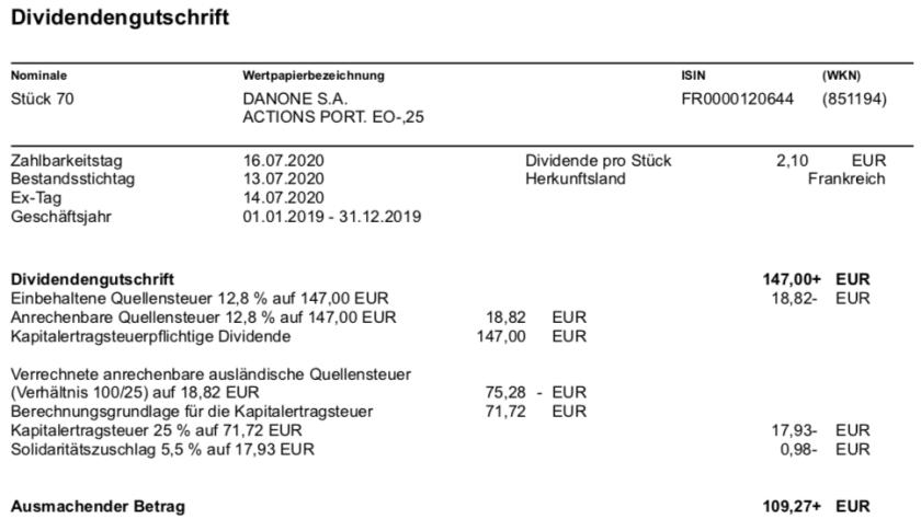 Dividendengutschrift Danone im Juli 2020
