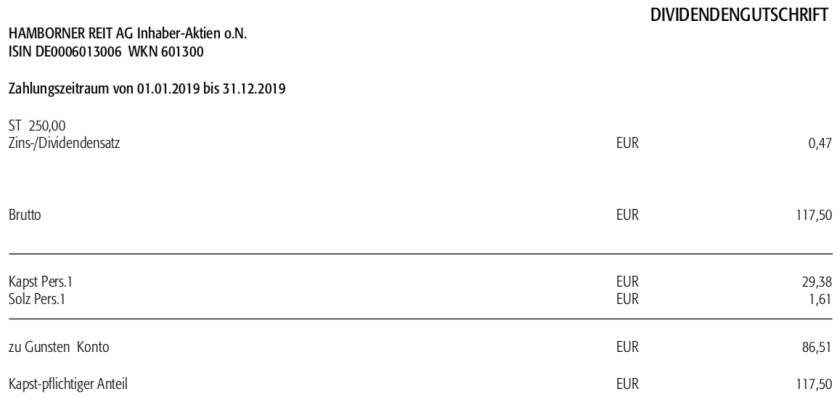 Dividendengutschrift Hamborner REIT im November 2020
