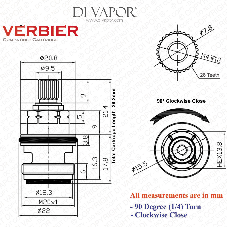 Franke Verbier Sp C R C Cold Tap Valve Cartridge