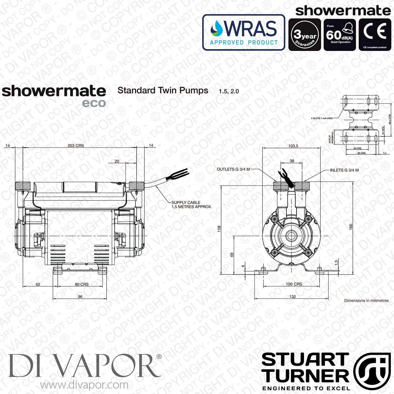 Stuart Turner Showermate Eco Standard 1 5 Bar Twin