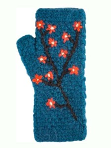 Embroidered Arm Warmer, Black, Alpaca, blend, winter wrist warmers for the whole family