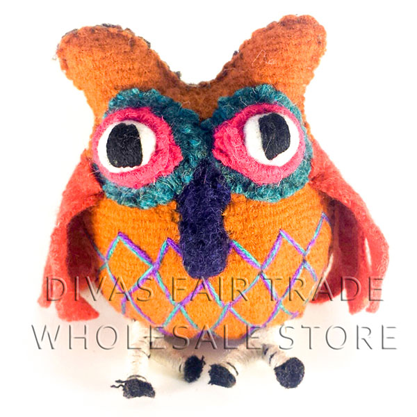 Owl 100% Natural Wool Stuffed Toys Woolly Amigos