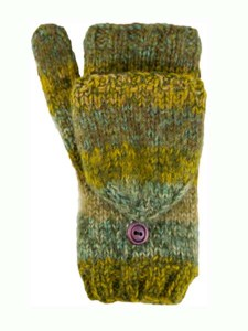 Funky Convertible Mitten, Olive. Alpaca Blend, winter Mittens for the whole family