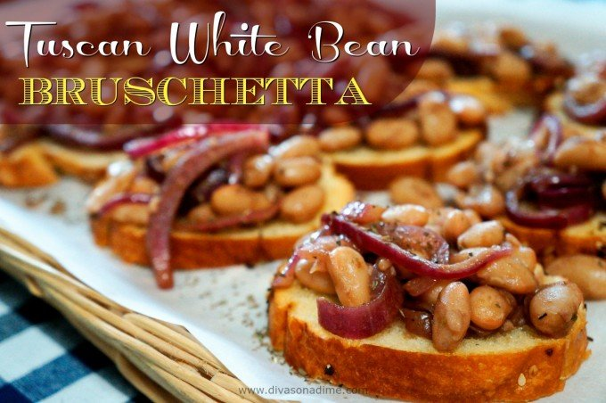 Here's an easy, hearty appetizer that's so yummy no one will notice it's totally cheap! Creamy, garlicy white beans with balsamic onions on crisp garlic baguette. What's not to love? I have got to make this again!