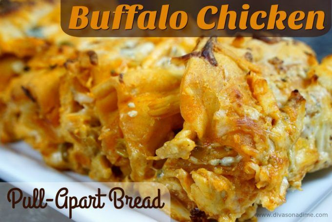 Like Buffalo Chicken? You'll LOVE this easy, cheesy pull-apart bread. Loaded with chicken, spicy wing sauce and cheese! It's the perfect football snack.
