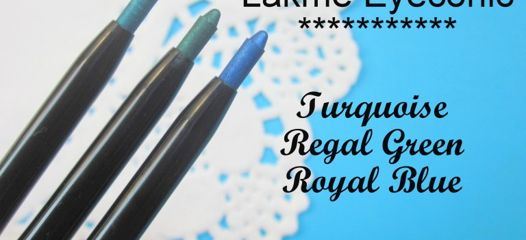 Swatch Attack!: Lakme Eyeconic Kajal in Regal Green, Turquoise, Royal Blue