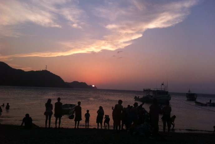 Sunset on the beach at Taganga