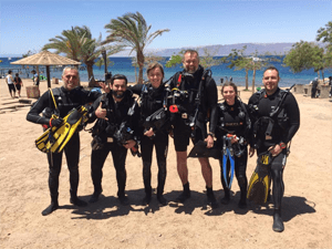 Group of divers, diving aqaba
