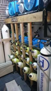 Hydrostatische duikfles keuring