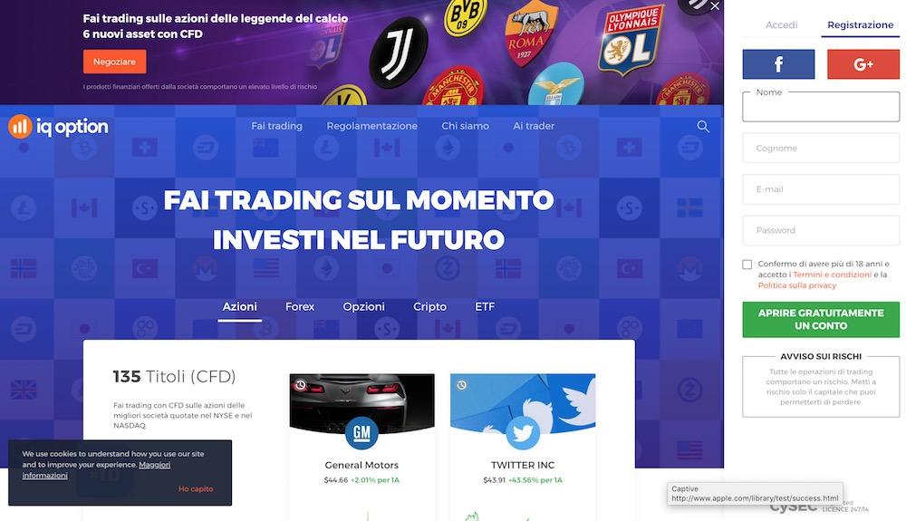 Piattaforma Trading IQ Option