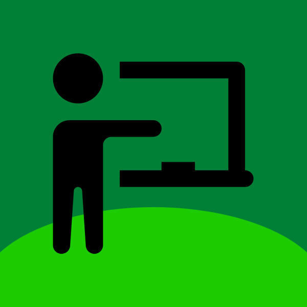 Dark green background with a green semicircle on the bottom and an adult standing pointing to a chalk board.