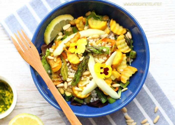 Insalata di sorgo, zucchine gialle e pinoli