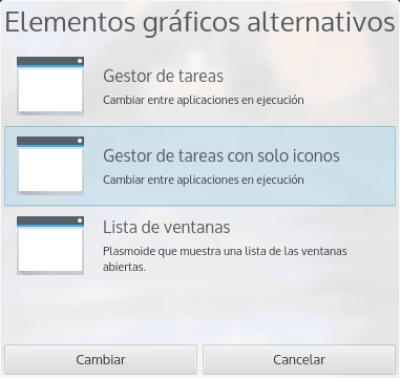 KDE Plasma 5, elementos graficos alternativos