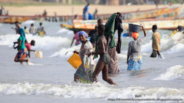 Playa Tanji desembarco pescado mujeres jovenes