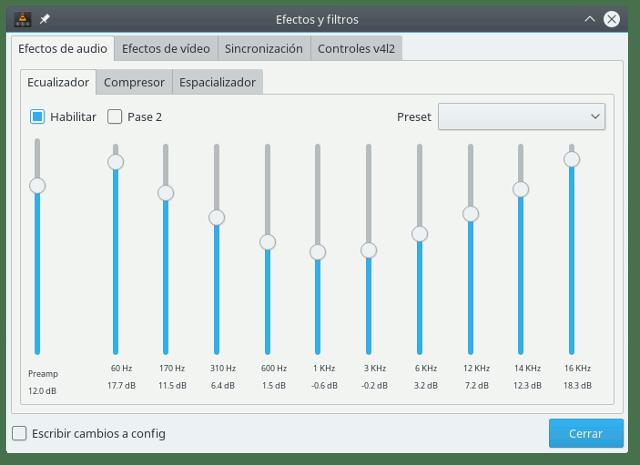 Ecualizador del reproductor multimedia VLC.