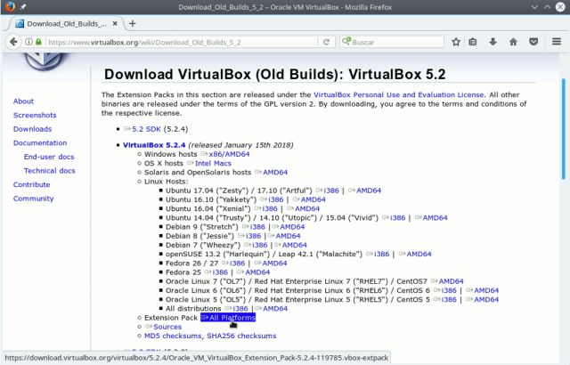 descargar virtual extension pack para linux