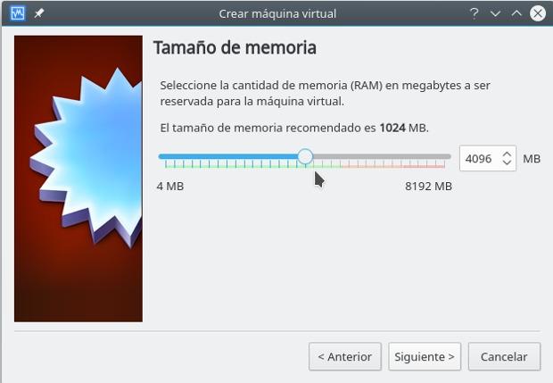 instalar gnu/linux con virtualbox, tamaño de memoria