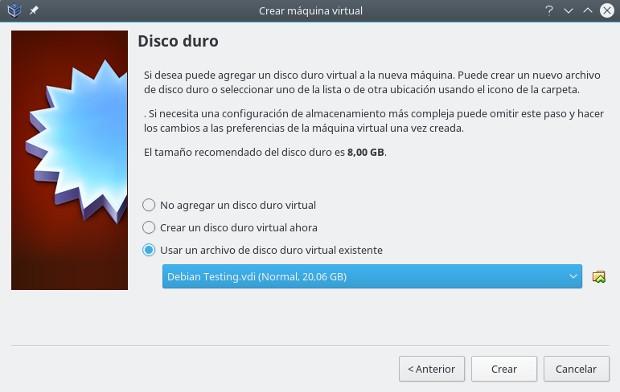 instalar gnu/linux con virtualbox, disco duro virtual existente