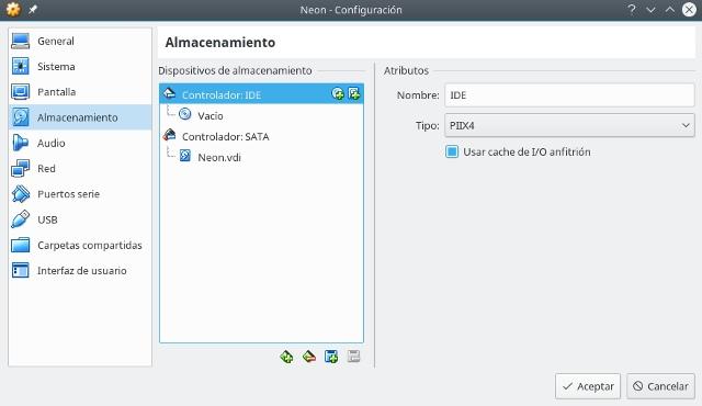 configurar virtualbox, almacenamiento