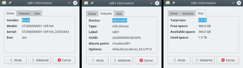 disk-manager, informacion de las particiones