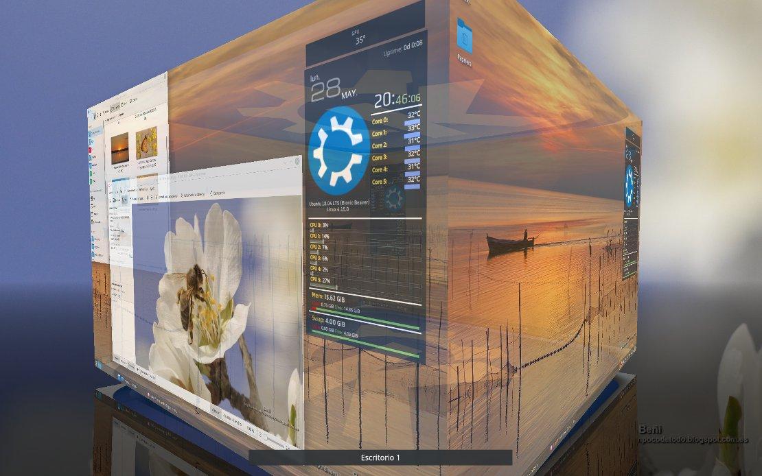 cubo de escritorio en kubuntu 18.04 LTS