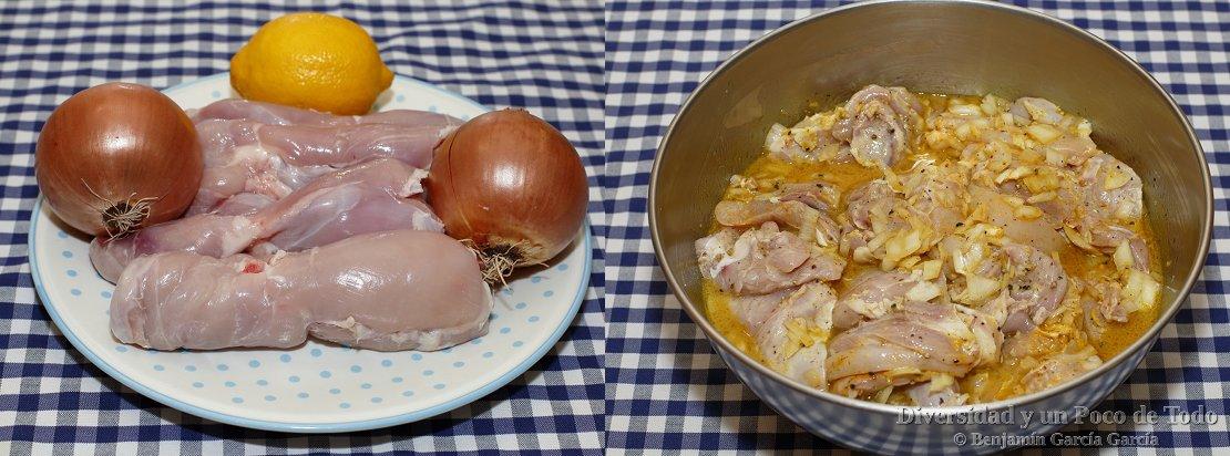 pollo yassa, muslos desguesados, cebolla, limon y el marinado