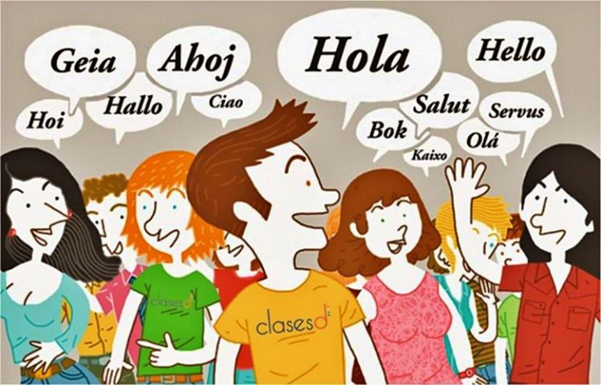 "Group of people saying ""Hello"" in different languages"