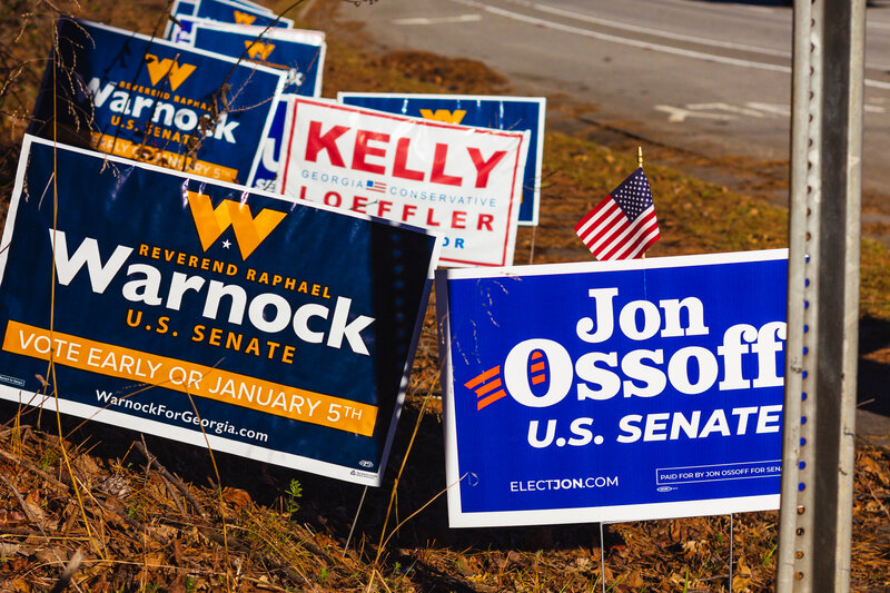Georgia state senate runoff election campaign signs