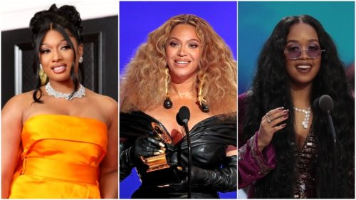 2021 Grammy Awards Winnters Beyonce, Megan Thee Stallion, and H.E.R.